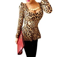 Allegra K Ladies Leopard Prints Pullover Long Sleeves Peplum Top Beige Black XS