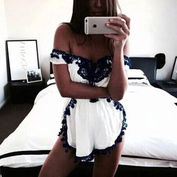 Strapless Lace Trim Romper