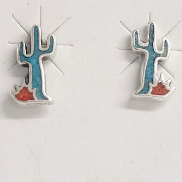 Sunwest Jewelry~ Small Cactus Earrings