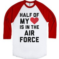 Half My Heart Is In The Air Force-Unisex White/Red T-Shirt