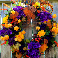 Front Door Wreath- Feathers -Fall Wreath- Autumn Wreath - Purple Hydrangeas Yellow Flowers Sparkly Ribbon
