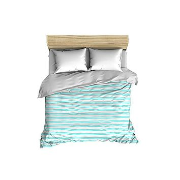 Horizontal Stripes Pattern Solid on White Comforter
