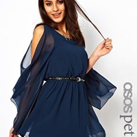 ASOS PETITE Exclusive Cape Sleeve Dress With Studded Belt at asos.com
