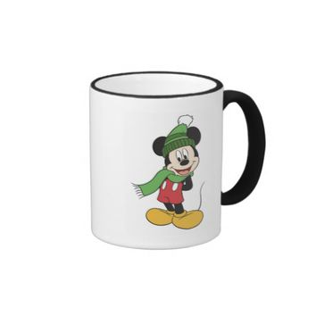 Mickey Mouse in winter clothes scarf knitted hat Ringer Coffee Mug