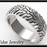 Tire Tread Mens Wedding Band In 925 Sterling Silver