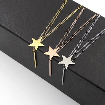 2018 Fashion Stainless Steel Rose Gold Color Love Multilayer Star Long Square Bar Pendant Chokers Necklaces Women Party Gift