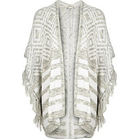 Girls grey fringed kimono cardigan - cardigans / sweaters - girls
