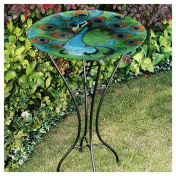 Gerson 2066220 Fused Glass Peacock Bird Bath with Metal Stand, 26.5""