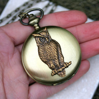 Steampunk Owl Pocket Watch Necklace