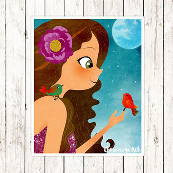 Girl and Birds Art Print  Wall Art Print Brunette Girl Decor Girl's Room Wall Art Teenage Art  Illustrations for Girls Room Decor for Girls