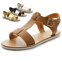Ollio Womens Shoes Strap Side Buckle Slingback Multi Color Flats Sandals
