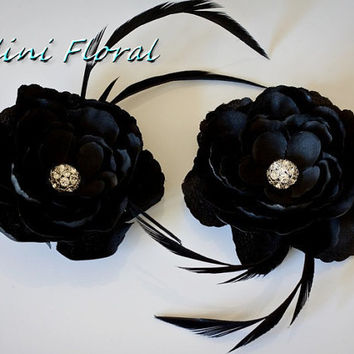 Set of 2 Black Flowers with Rhinestones and Feathers hair Clips / Pins / Shoe Clips