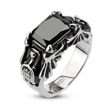 Faceted Rectagle Onyx Gem Cyber Bat Wings Cast Ring Stainless Steel
