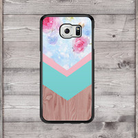 Galaxy S6 Case Floral Wood Print Galaxy S6 Phone Case, Galaxy S6 Edge Case Geometric Galaxy Note 4 Case Chevron Galaxy Note 4 Phone Case