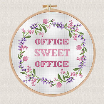 Office sweet office cross stitch pdf pattern Lavender Helleborus flower wreath cross stitch modern Round cross stitch Easy Counted Chart diy