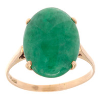 14k Yellow Gold Antique Estate Jade Cocktail Ring