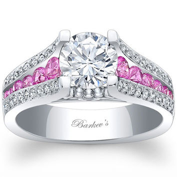 Barkev's Pink Sapphire Channel Set Cathedral Diamond Engagement Ring