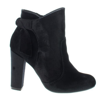 Hiltop48 Black Velvet By Bamboo, Velvet Block Heel Ankle Booties W Bow
