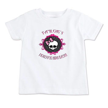 T-Shirt-Birthday T-Shirt-Party T-Shirt-Personalized-Custom T-Shirts-Monster High-Front Only