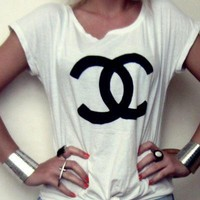 """CHANEL""Hot letters print T-shirt top"