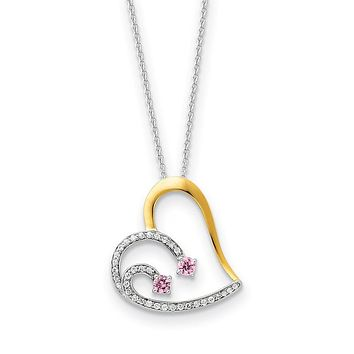 Rhodium & Gold Tone Plated Silver & CZ Forever by Your Side Necklace