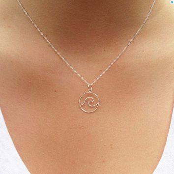 Silver Wave Pendant Necklace