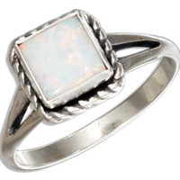 Roped Square Synthetic White Opal Ring
