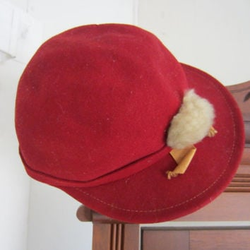 30s Red Wool Cap w/ Grey Pom Pom by Merrimac Hat Corp // Vintage Perky Hunting Hat