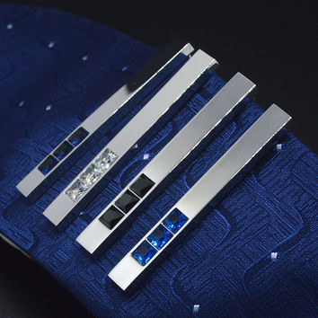 Trendy Metal Tie Clips Men's Suit Shirt Accessories Crystal Stone Setting Wedding Party Banquet Aniversary  Bridegrooms Business