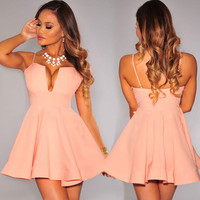 Peach Plunging Flared Padded Dress