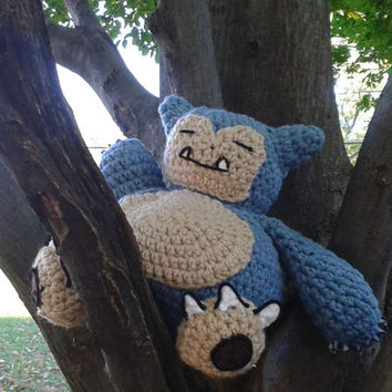 Crocheted Sleeping Snorlax Pokemon stuffed animal amigurumi