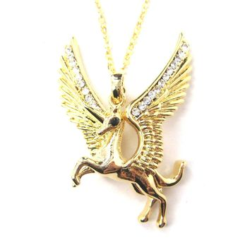 Unicorn Horse Animal Pendant Necklace in Gold with Large Wings   Animal Jewelry