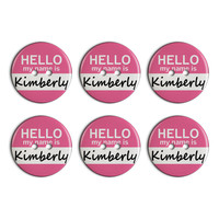 Kimberly Hello My Name Is Plastic Resin Button Set of 6