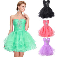 Grace Karin Strapless Tulle Short Mini Bridesmaids Dress Tutu Skirt Beaded Crystal Cocktail Evening Prom Party Dress 8 Size US 2~16 CL6077