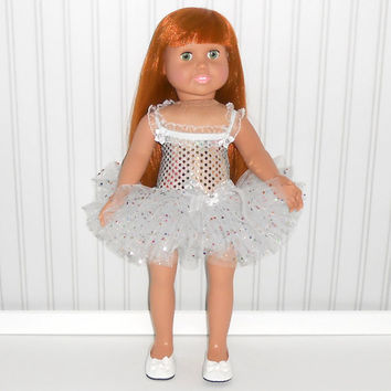 18 inch Doll Clothes White Confetti Dance Outfit with Sequin Leotard and Tutu American Doll Clothes