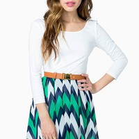Fun Zig Zag Belted A-line Dress