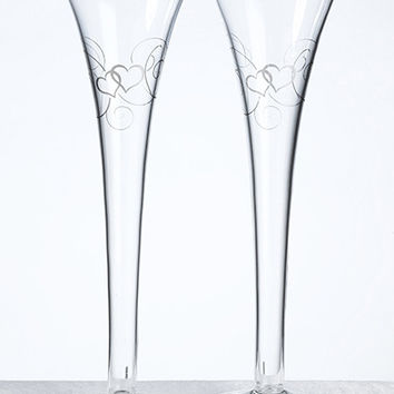 Silver Heart Etched Glass Toasting Flutes