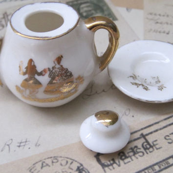Vintage Ceramic Miniature Toy House TeaPot With Lid And Saucer