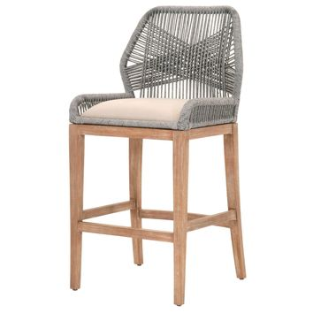 Loom Barstool Platinum | Light Gray Seat, Stone Wash Mahogany