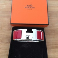 hermes clic clac bracelet red and silver