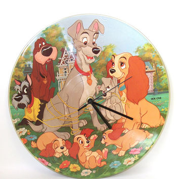 Record Wall Clock,  Lady and the Tramp, Children's Wall Clock