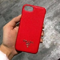 PRADA Classic Fashion Simple Mobile Phone Cover Case For iphone 6 6s 6plus 6s-plus 7 7plus 8 8plus X XSMax XR Red