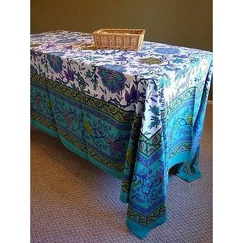 Handmade 100% Cotton Floral Tapestry Tablecloth Bedspread 87x90 Full Aquamarine