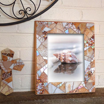 8x10 Beach Wedding Picture Frame, Beige White Picture Frame, Glass Mosaic Picture Frame, Coastal Wedding Gift, Beach Glass Frame