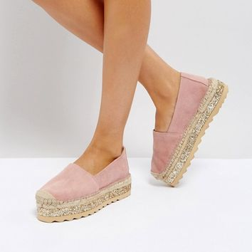 Pieces Leather Espadrilles with Glitter Contrast Sole at asos.com