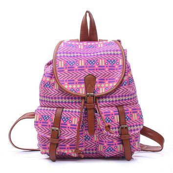 women s large canvas ehnic tribal aztec daypack backpack travel bag 2
