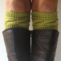 Avocado Boot Cuffs Green Cable Knit Boot Liners Toppers