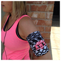 Monogrammed jogging stretch fabric armband to hold your phone, keys and music device