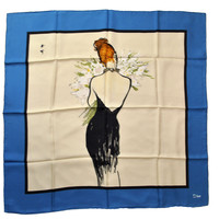 Christian Dior Silk Square Scarf Navy White Lady With Flowers SALE