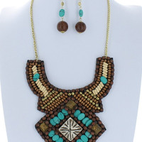 Aztec Bib Wood Bead Collar Necklace Trendy Turquoise Boho Jeweled Earring Set Fashion Multicolor Costume Jewelry Gift
